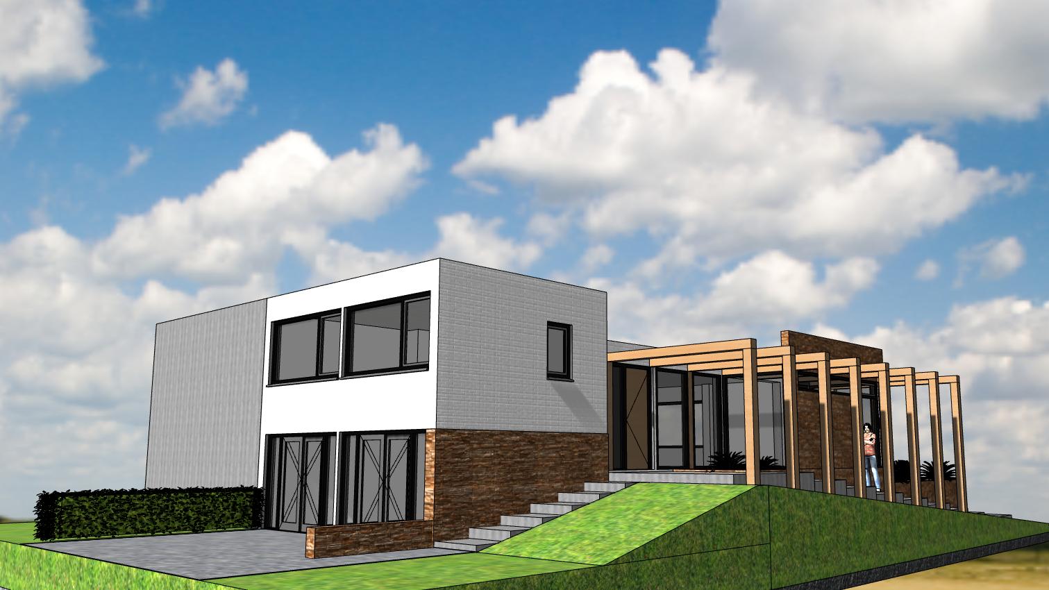 Ontwerp Architect Warnaars modernisering semibungalow Bennebroek - achterkant