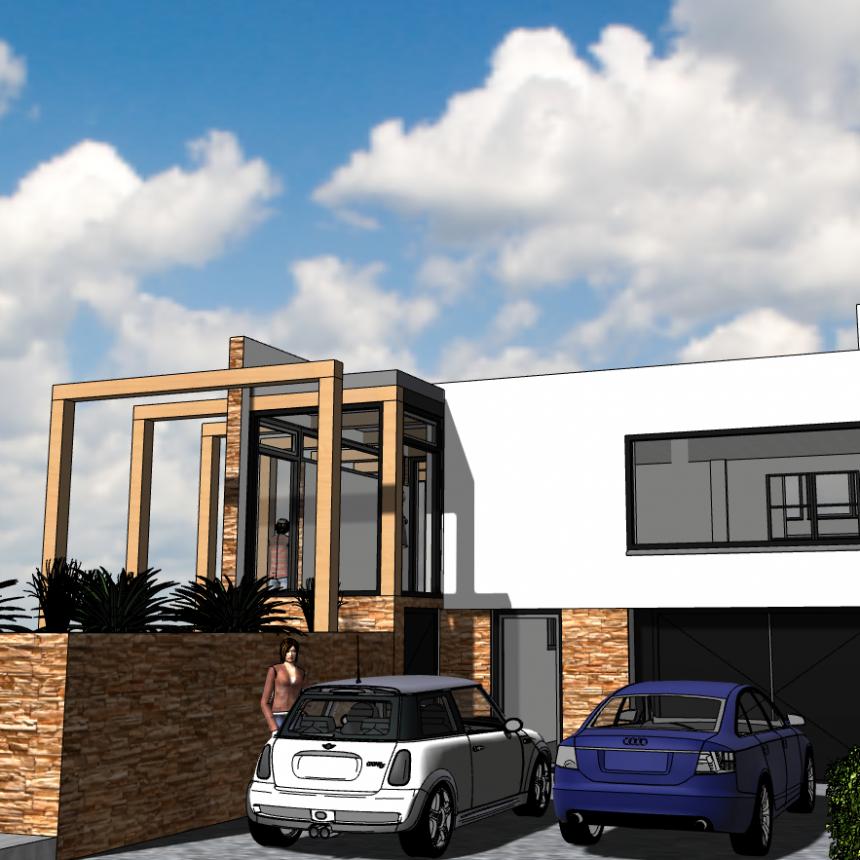 Ontwerp Architect Warnaars modernisering semibungalow Bennebroek - voorkant