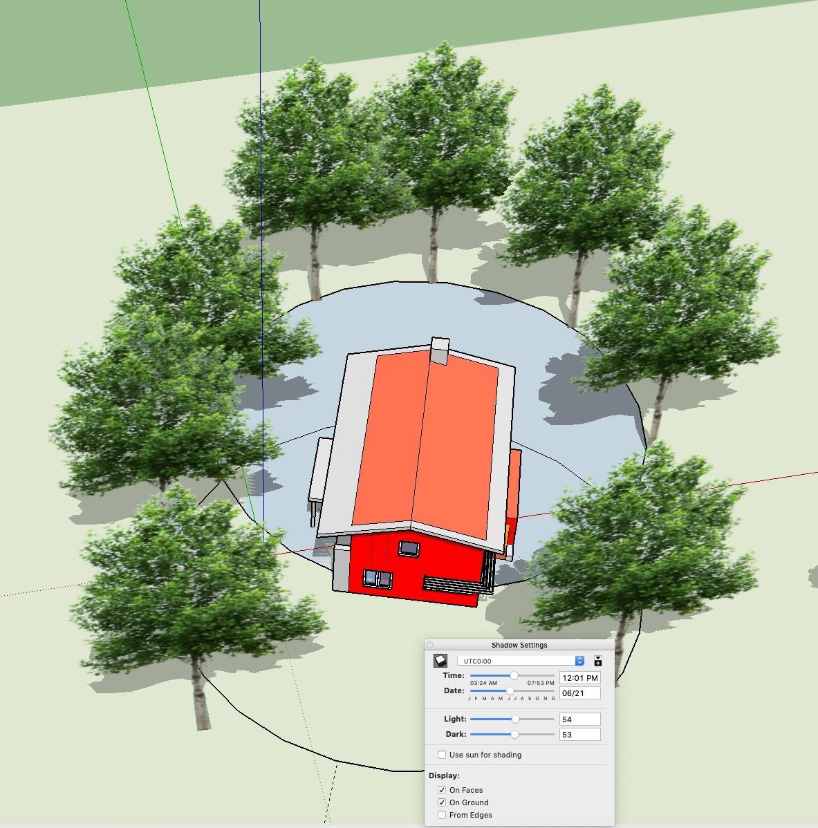 Illustratie optimale plaatsing bomen om genoeg zonlicht op te vangen