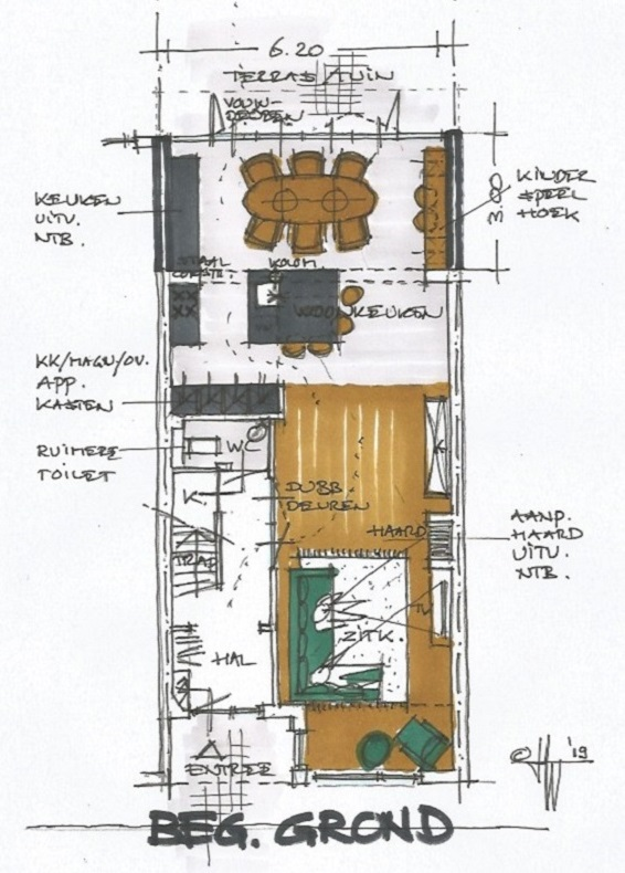 Schets begane grond - jaren 30 huis Bloemendaal - Architect Warnaars