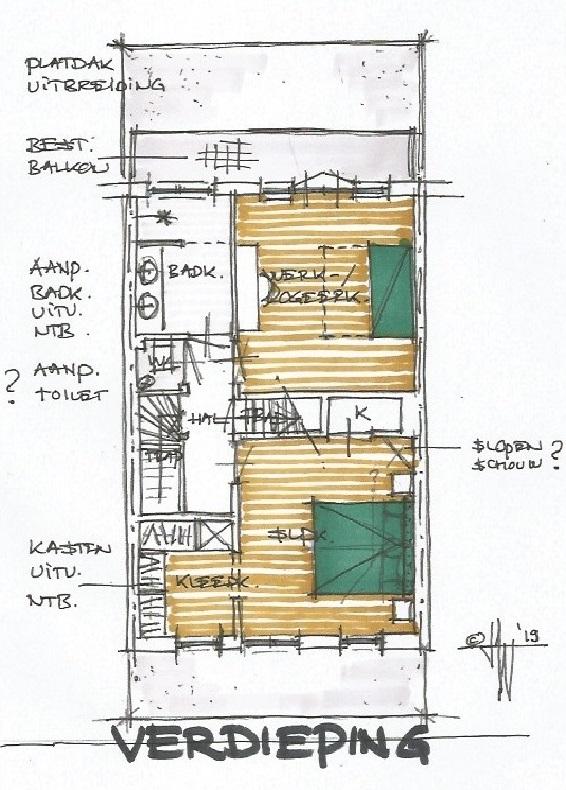 Schets verdieping - jaren 30 huis Bloemendaal - Architect Warnaars