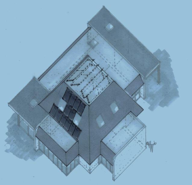 Bovenaanzicht plan PV/PVT-panelen jaren 80 huis - Architect Warnaars