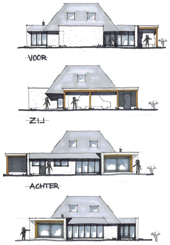 Voorlopig ontwerp gevels - jaren 80 huis Aerdenhout - Architect Warnaars