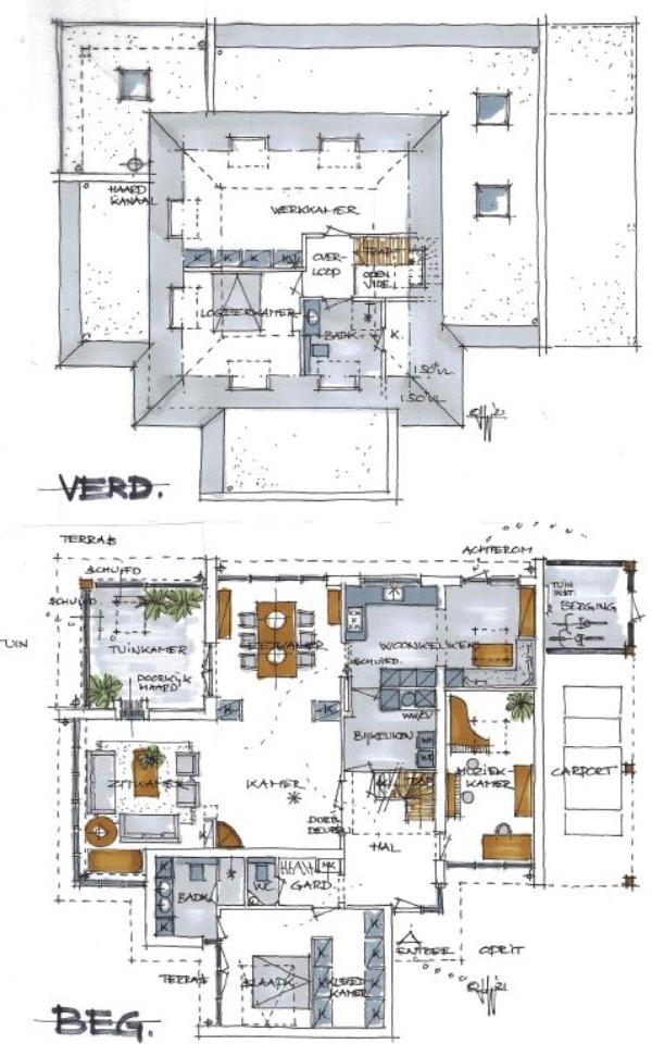 Voorlopig ontwerp begane grond en verdieping - jaren 80 huis Aerdenhout - Architect Warnaars